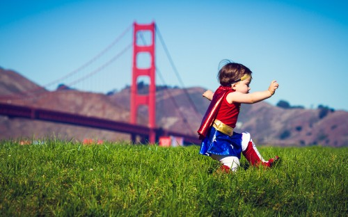Even Super Heroes Slip On Wet Grass - San Francisco, CA - family photography