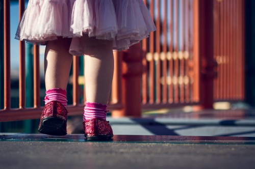 Every Great Journey Begins With A Single Step In Red Sparkly Shoes - San Francisco, CA - family photography